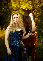 Blue dress and horse